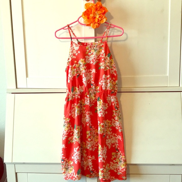 7eb8551f947 Super cute Old Navy Orange Floral Dress. M 5aa5a4e13afbbd0b354d3005